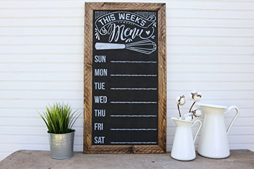 Rustic Framed Chalkboard Weekly Menu Sign ()