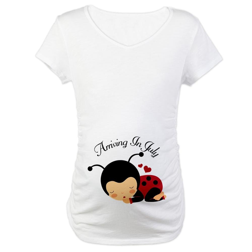 1415e308236 CafePress Baby Arriving In July Ladybug Announcement Materni Cotton Maternity  T-shirt