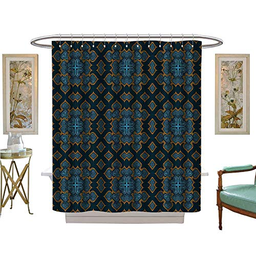 - luvoluxhome Shower Curtains Fabric Extra Long Painted Ornamental Kaleidoscope moroccanislamic Wallpaper Fabric Bathroom Decor Set with Hooks W69 x L84