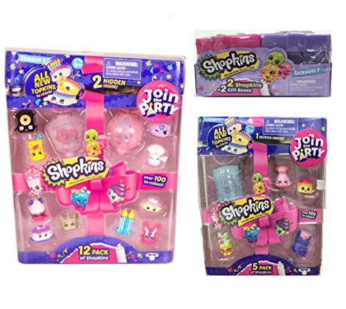 Shopkins season 7 Gift Bundle - 12 Pack, 5 Pack, 2 Pack, Including Blizy Flashlight Keychain