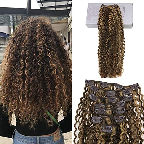 Moresoo 16 Inch Clip in Human Hair Extensions Kinky Curly Highlights Color Dark Brown and Light Brown 7PCS 120G Double Weft Hair Extensions Real Hair Clip in Extensions