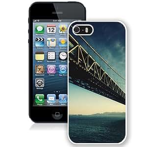 Beautiful Unique Designed iPhone 5S Phone Case With Steel Bridge Architecture Water_White Phone Case