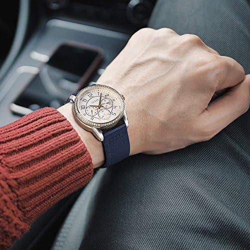 OLLREAR ファブリック 時計ベルト 時計 ベルト 替えベルト 時計ベルトラバー - 13 色 & 4 サイズ - 18mm20mm22mm24mm (18mmPink)