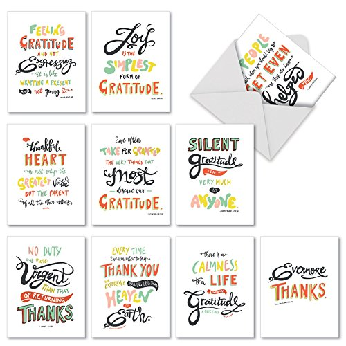 M10019TY Words Of Appreciation: 10 Assorted Thank You Note Cards Featuring Artfully Rendered Words Of Appreciation And Thanks,w/White Envelopes.