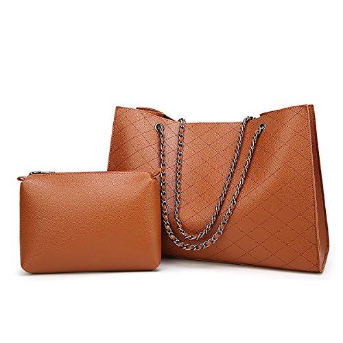Tisdaini borsa da donna grande con tracolla lunga due eleganti tracolle a catena Marrone