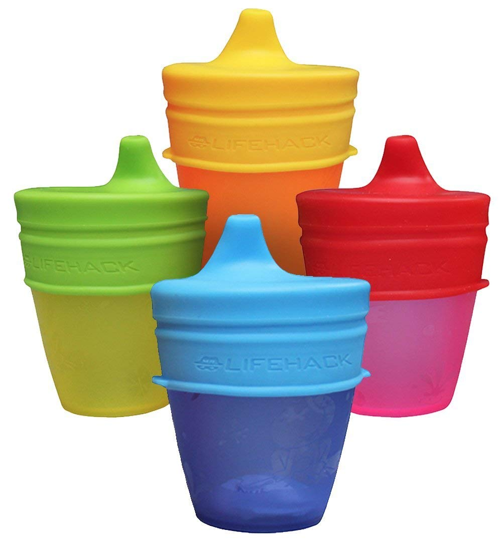 Sippy Cup Lids by MrLifeHack - (4 Pack) - Makes Any Cup Or Bottle Spill Proof - 100% BPA Free Leak Proof Silicone - Perfect for Toddlers & Babies by MrLifeHack