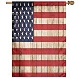 HUANGLING Fourth Of July Independence Day Damaged Wooden Fence Looking Freedom Symbol Decorative Home Flag Garden Flag Demonstrations Flag Family Party Flag Match Flag 27''x37''