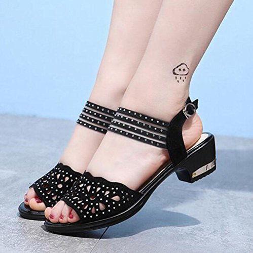 KUKI Rough mit Strass Schnalle Frauen Sandalen Square Dance Schuhe 1