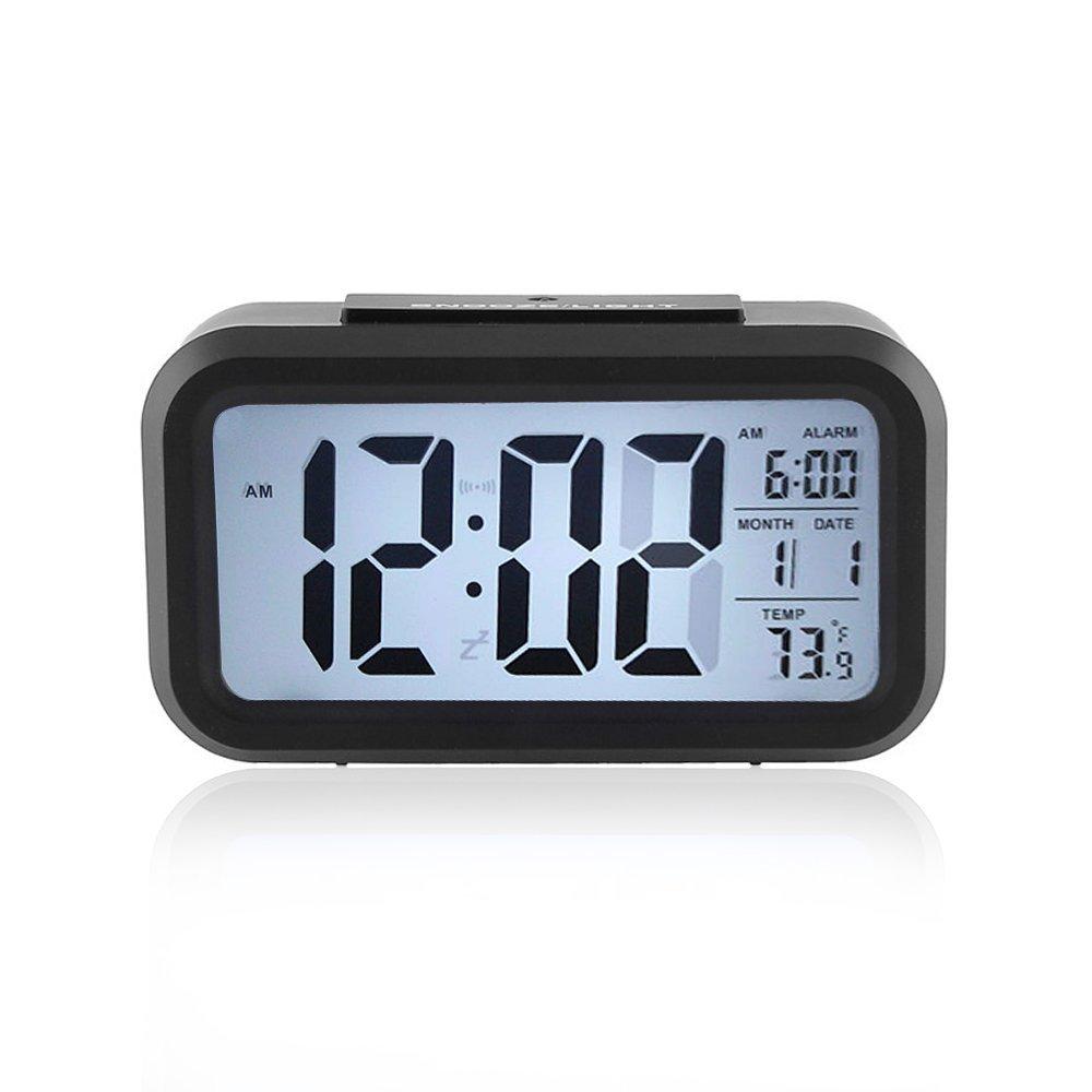 LXMAO Reloj Despertador, Alarma Despertador Digital con Snooze, Sensor de luz, Fecha, Temperatura, Negro: Amazon.es: Hogar