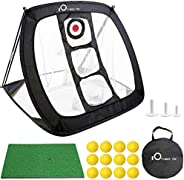 Golf Chipping Net and Mat Set with 12 Balls, Indoor/Outdoor Pop Up Golf Target Accessories for Home Backyard O