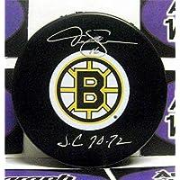 $74 » Derek Sanderson autographed Hockey Puck (Boston Bruins) inscribed SC 70, 72 - Autographed NHL Pucks