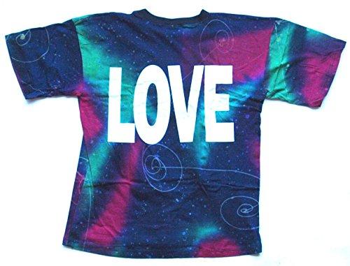 T-Shirt LOVE Nr. 13 Größe L Batik Baumwolle beidseitig Siebdruck Original 1990er Jahre