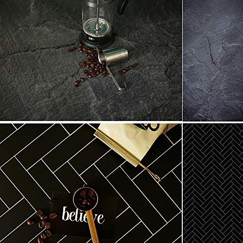 Evanto 23X35 Inch (58X88cm) 2-in-1 Black Slate Background Food Photography Backdrops for Foodies, Photographers, Bloggers, Menu, Poster or Magazine Shooting and Video