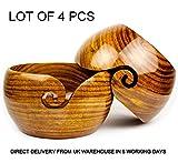 Arsh Nautical Lot of 4 Pcs Wooden Yarn Bowl Crochet Yarn Bowl 6x3 Inch - Perfect Yarn Holder Bowl for Knitting and Crocheting, Handmade from Rosewood - Sheesham Wood,Heavy & Sturdy