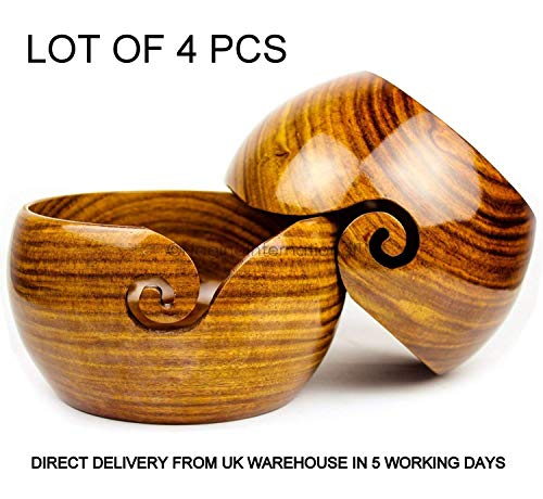 Omaira Naaz Lot of 4 Pcs Wooden Yarn Bowl Crochet Yarn Bowl 6x3 Inch - Perfect Yarn Holder Bowl for Knitting and Crocheting, Handmade from Rosewood A by Omaira Naaz (Image #5)