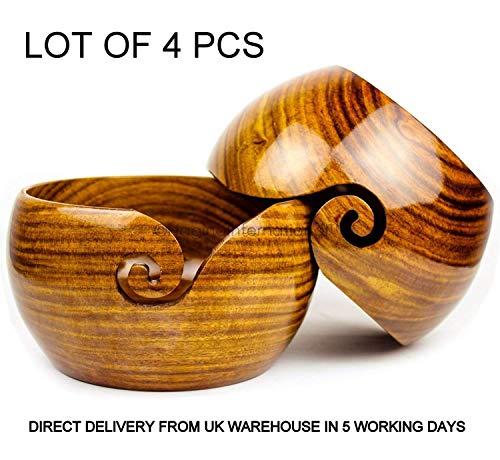Mahira Nautical Lot of 4 Pcs Wooden Yarn Bowl Crochet Yarn Bowl 6x3 Inch - Perfect Yarn Holder Bowl for Knitting and Crocheting, Handmade from Rosewood - Sheesham Wood,Heavy & Sturdy A by Mahira Nautical (Image #4)