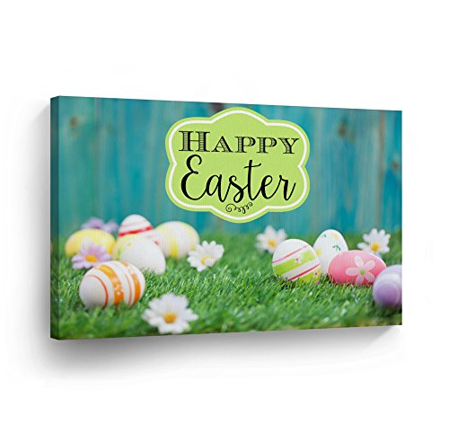 Easter Decoration 'Happy Easter' Wall Art Canvas Print Easter Eggs