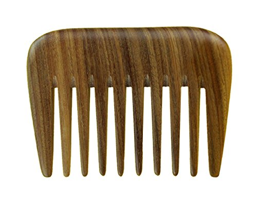 Meta-C Portable Hair/Beard Comb/Pick – Made Of One Whole Piece Of Natural Green Sandal Wood With Fragrant Scent (Wide Tooth)