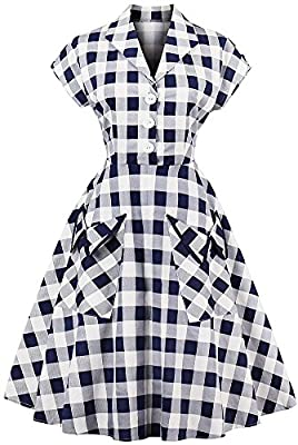 LUNAJANY Women's Retro 1950s Cap Sleeve Point Collar Plaid Swing Shirt Dress