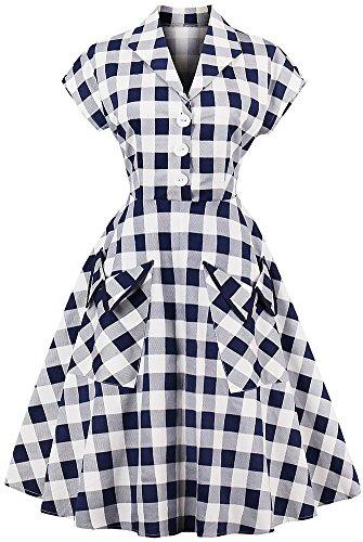 LUNAJANY Women's Retro 1950s Cap Sleeve Point Collar Plaid Swing Shirt Dress L - Plaid Retro