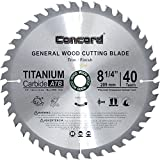 Concord Blades WCB8250T40-P  TCT General Purpose 8-1/4-Inch 40 Teeth Hard and Soft Wood Saw Blade with DM5/8-Inch Arbor
