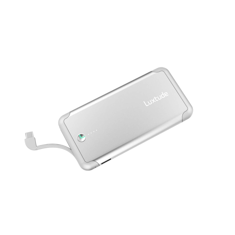 Luxtude Bateria Externa para Movil 10000mAh, Powerbank de Carga Rapida con Cable Tipo C Incorporado, Cargador Portatil Movil Carga Rapida para Samsung, Huawei y Tipo C Dispositivo Android (Plata)