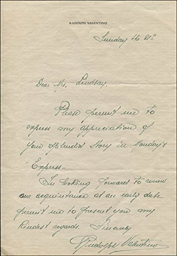 """Rudolph """"The Sheik"""" Valentino – Autograph Letter Signed"""