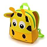 IGNPION Nursery Kids Backpacks Toddle Children School Bag Zoo Lunch Bag 3D Cute Animal Cartoon Preschool Rucksack (1-5 Years Old) (Giraffe)