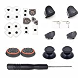 For Dualshock 4 PS4 Controller L1 R1 L2 R2 Trigger Springs Buttons + 2 Joystick Thumb Sticks + 1 Set Conductive Rubber+ 2 x Springs +Joystick Silicone Caps by Perfect PCA
