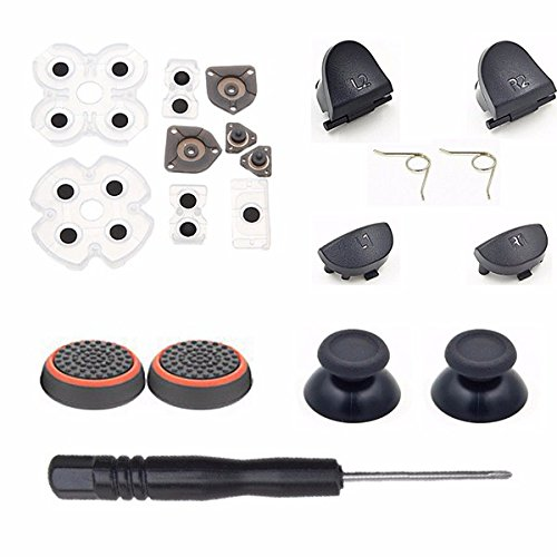 For Dualshock 4 PS4 Old Version Controller L1 R1 L2 R2 Trigger Springs Buttons + 2 Joystick Thumb Sticks + 1 Set Conductive Rubber+ 2 x Springs +Joystick Silicone Caps