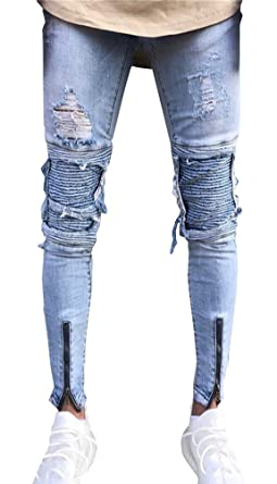 e543de80f9ca6a Mens Zipper Jeans Trousers Ripped Biker Denim Pants Slim Fit Destroyed Slim  Feet Jeans for Men Streetwear Fashion Skinny Casual Hip Hop Distressed  Holes ...