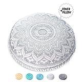 Mandala Life ART Bohemian Decor Floor Cushion - INSERT INCLUDED - Round Meditation Pillow Pouf - 100% Hand Printed Organic Cotton by (Silver Lotus)