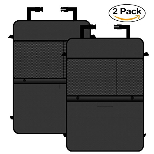 Autoark Kick Mats Back Seat Protector with Storage Organizer Pocket,Extra Hooks and Big Pockets,Waterproof,2 Pack,AK-060 - Exclusive Car Mats