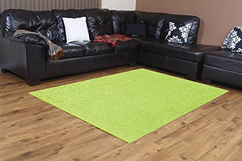 Bright House Solid Color Area Rug, Round, 3' W x 3' L, Lime Green (Solid Green Round Rug)