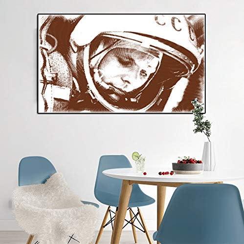 Chihie Astronauta Yuri Gagarin p/óster y Foto Arte de la Pared Pintura sobre Lienzo impresi/ón decoraci/ón del hogar sobre Lienzo en la Sala de estar-50X70cm sin Marco