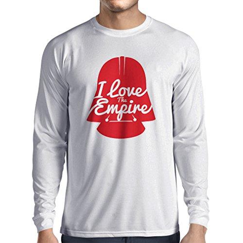 N4338L Long sleeve t shirt men I love the Empire (Large White Multi
