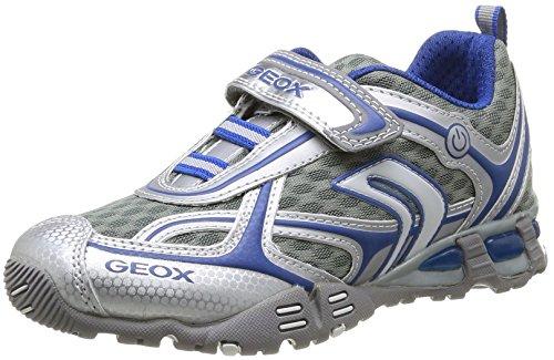 Geox Junior Light Eclipse 19 Sneaker (Toddler/Little Kid/Big Kid), Silver/Royal, 37 EU (5 M US Big Kid)