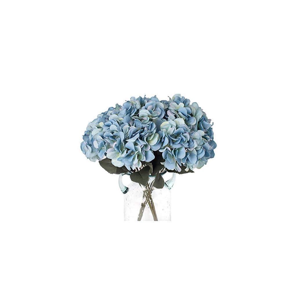 Louiesya Artificial Flowers Silk Hydrangea Flowers with 5 Big Heads Fake Flower Bunch Bouquet for Home Wedding Party Decor DIY (Dark Blue)