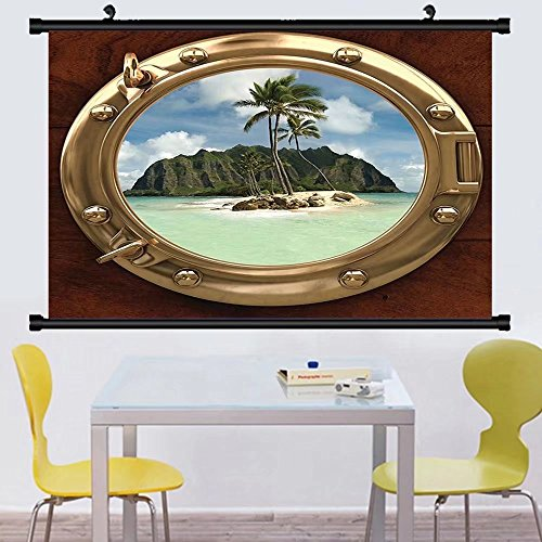 Gzhihine Wall Scroll Hawa an Decorations Wall Hanging Colorful Sunrise At Halona Cove Eternity Beach On Oahu Foggy Coastline Seascape Decor - On The Map Broadway Beach