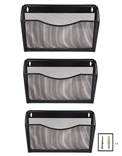 EasyPAG 3 Pocket Office Mesh Collection Wall File Holder Organizer - Black