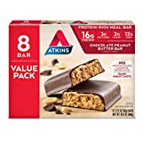 #10: Atkins Meal Bars, Chocolate Peanut Butter, 16g Protein, 1g Sugar, 3g. Net Carbs, 16.9-Ounce, 8-Bars (packaging may vary)