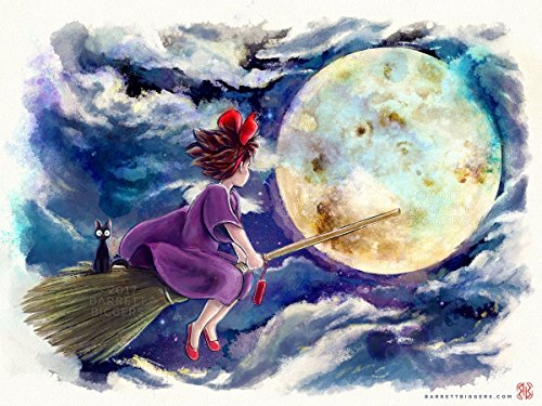 yao Miyazaki Anime Inspired Kiki's Delivery Service Cute Witch Watercolor Painting Hand Signed Premium Quality Giclèe Print ()