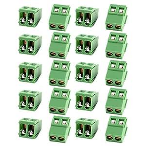 20 x 5 mm verde 2P espaciado PCB Terminal de tornillo Bloque 10A 300V AWG24-12
