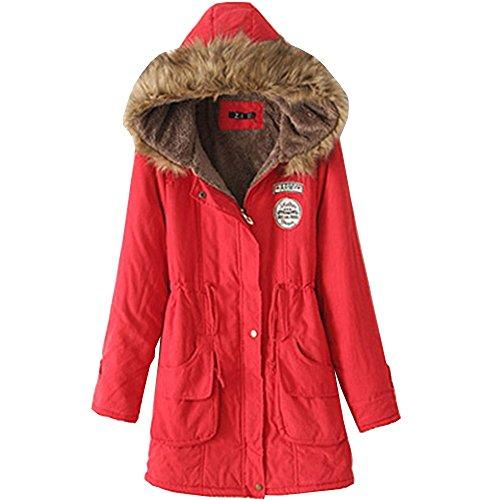 EMMA Abrigo de Invierno para Mujer de Lana Caliente Encapuchado Clásico de Gran Tamaño Rojo