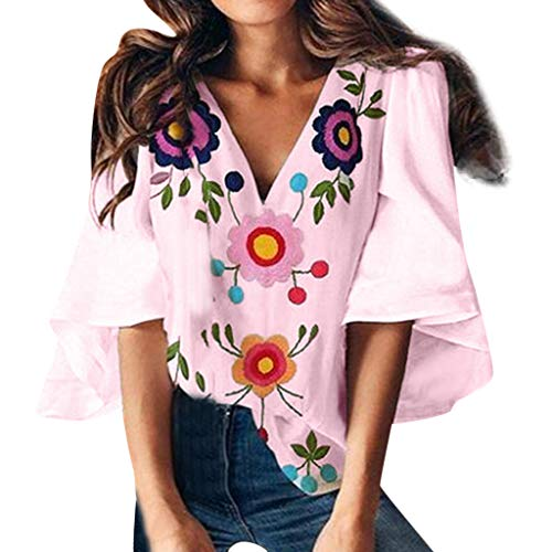 Pengy Women's V-Neck Print Top Trumpet Sleeve T-Shirt Ladies Flower Printed Blouse Summer Blouse Pink (Chicago Sox Suits White)