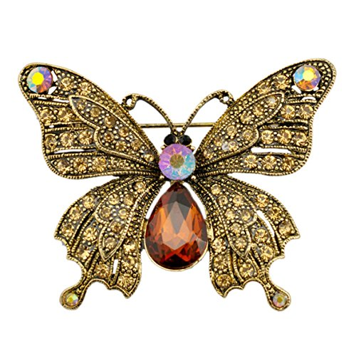 Austrian Crystal Butterfly Pin (SELOVO Vintage Style Antique Gold Tone Butterfly Brooch Pin Brown Austrian Crystal)