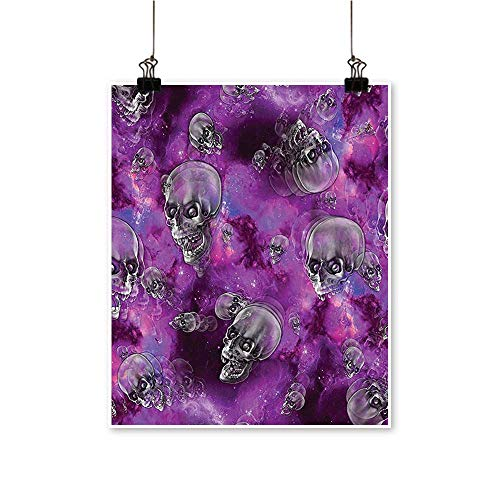 Art-Canvas Prints Horror Movie Themed Flying Skull Heads Halloween in Outer Space Image Black and Wall Art for Living Room Decoration,24
