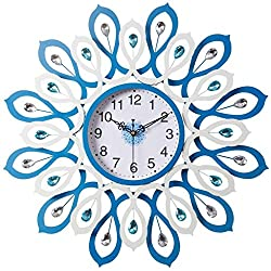 PQPQPQPQ wall clock Clocks and watches blue Metallic Round Large modern Mute silent Suitable for bedroom & living room & home & kitchen Size 60cm