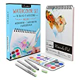 Kassa Watercolor Set - Includes Water Brush Pens (3 Assorted Sizes), Painting Pad (30 Sheets) & Paint Pan (21 Watercolors) - Watercoloring Art Supplies Kit for Beginners & Artists
