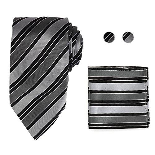 Y&G H8044 Dim Grey Formal Wear Striped Silver Black Eve Of All Saint¡¯s Day Gift Silk Tie Cufflinks Hanky Set -